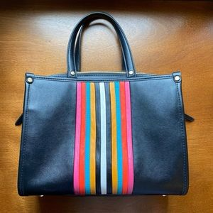 Black Handbag with Colorful Stripes